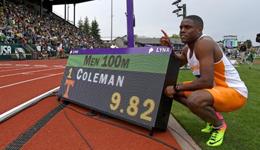 美国学生科尔曼创百米新纪录 科尔曼9秒82创田联最佳