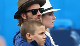 贝克汉姆携儿子观战网球女王杯 贝克汉姆小儿子照片
