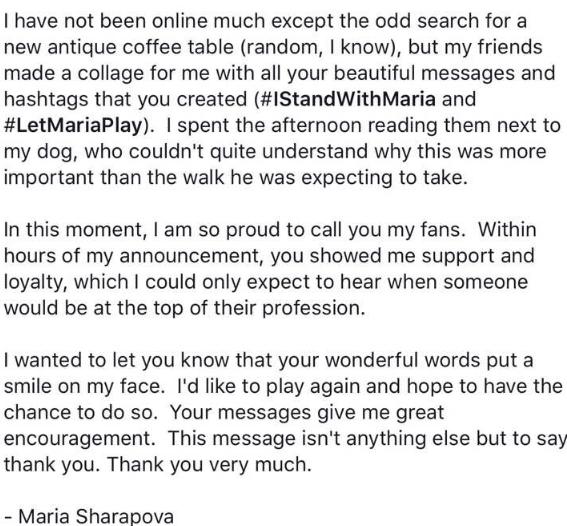 莎拉波娃禁药后首次发声 脸书发长文感谢球迷