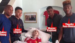 曼联四球员探望癌症球迷完成其一生的夙愿