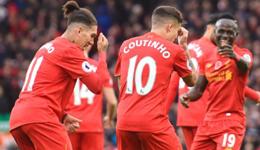 利物浦英超排名第一 红蓝军团齐刷数据争胜