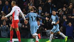 曼城vs摩纳哥 阿圭罗两球曼城险胜5:3摩纳哥