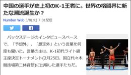 日媒评中国格斗选手魏锐夺K-1冠军 中国成为格斗强国