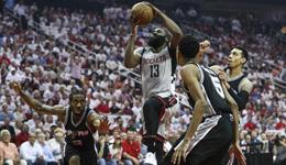 NBA半决赛马刺VS火箭 火箭3分雨射落马刺2-2