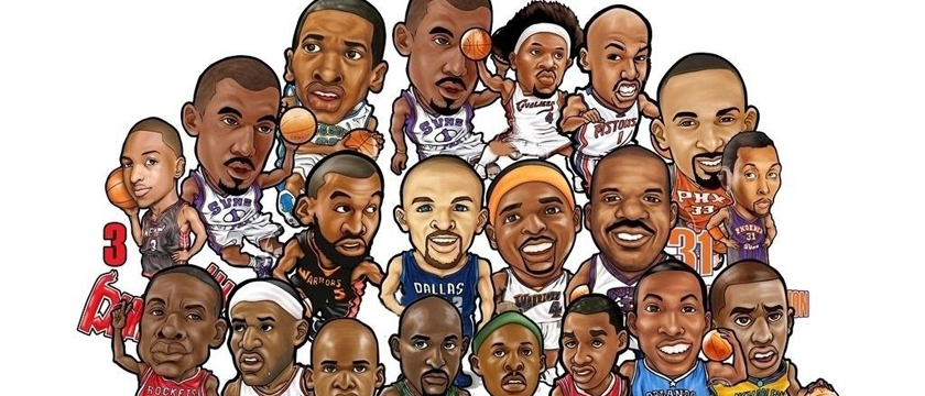 NBA全联盟球星人物画像 nba球星黑白线条铅笔画