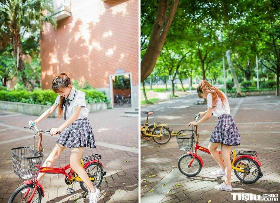 五月校园运动妹子日常照 艺校骑车小美女搞怪卖萌写真