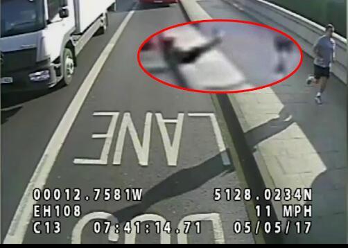 晨跑男子故意撞击女性 险造成车祸遭警方追踪