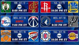 NBA公布下季揭幕战赛程 火箭大战勇士东决再上演