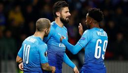 沃尔科特两球吉鲁破门 欧联杯阿森纳4-2两连胜
