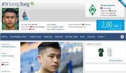 张玉宁身价涨2倍超武磊 中国球员第1不莱梅队内第4
