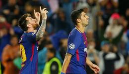 欧冠梅西传射斩欧战百球 皮克染红巴萨3-1胜