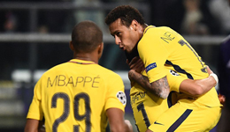 姆巴佩传射内少卡瓦尼建功 欧冠巴黎4-0比甲冠军