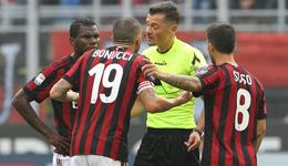 意甲博努奇肘击染红 10人米兰0-0热那亚4轮不胜