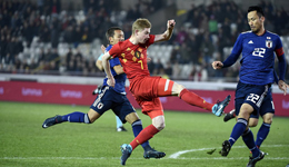 热身赛-查德利挑传卢卡库头槌致胜 比利时1-0日本