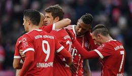 德甲-穆勒莱万双响J罗两助攻 拜仁4-2逆转不莱梅
