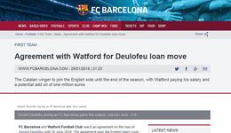 巴萨宣布德皇租借加盟沃特福德 第2次征战英超