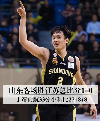 山东客场胜江苏总比分1-0 丁彦雨航33分小科比27+8+8