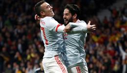 热身赛西班牙6-1阿根廷 伊斯科戴帽梅西缺阵