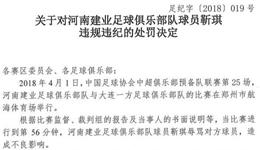 中国足协连开5张罚单 恒大一张建业1人禁4场