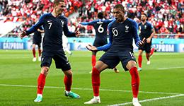 2018俄罗斯世界杯C组 姆巴佩破门法国1-0提前出线