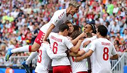 2018俄罗斯世界杯C组 丹麦1-1澳大利亚积4分