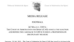 官宣米兰欧战禁令被取消 下赛季可征战欧联杯