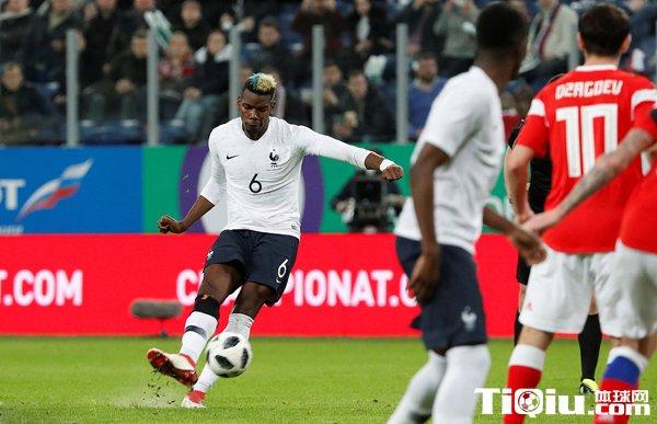 中国国家足球队博格巴任意球姆巴佩双响 热身赛-法国3-1俄罗斯